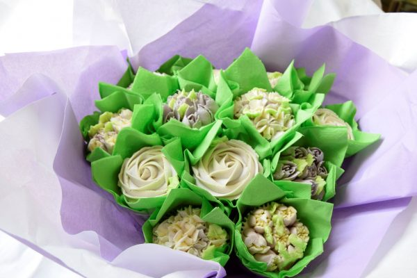 All the flowers in a gorgeous lilac cupcake bouquet