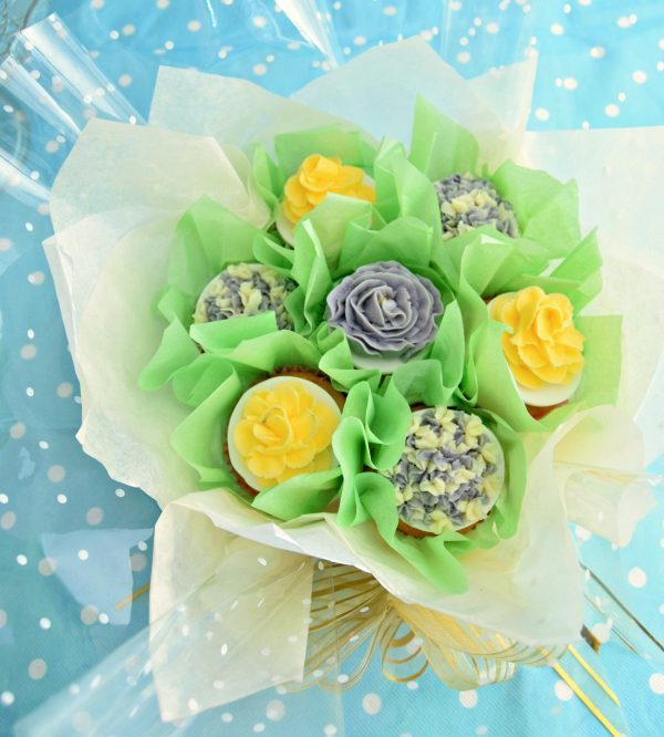 A gorgeous floral cupcake bouquet